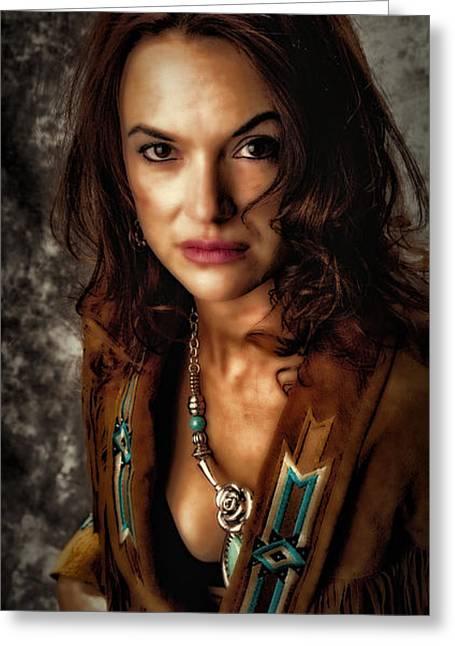 Greeting Card featuring the photograph Karina - Indian Jacket ... by Chuck Caramella