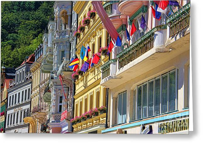 Karlovy Vary Greeting Card by Mariola Bitner