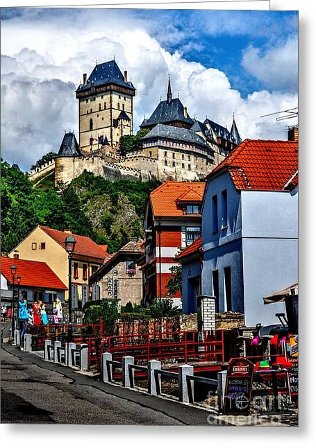 Greeting Card featuring the photograph Karlstejn Castle In Prague  by Joe  Ng