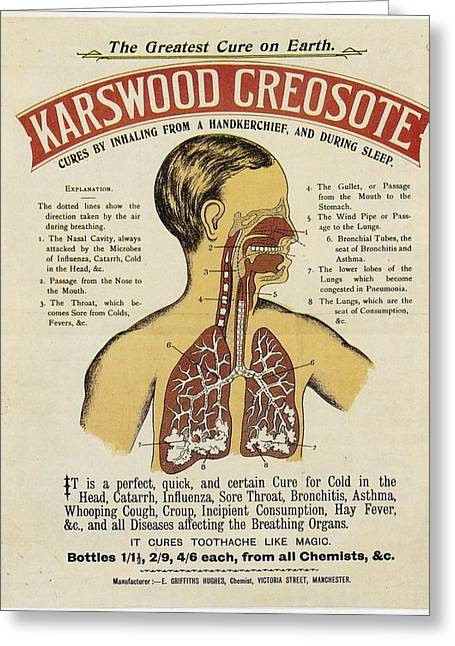 Greeting Card featuring the photograph Karswood Creosote Medicine Vintage Ad by Gianfranco Weiss