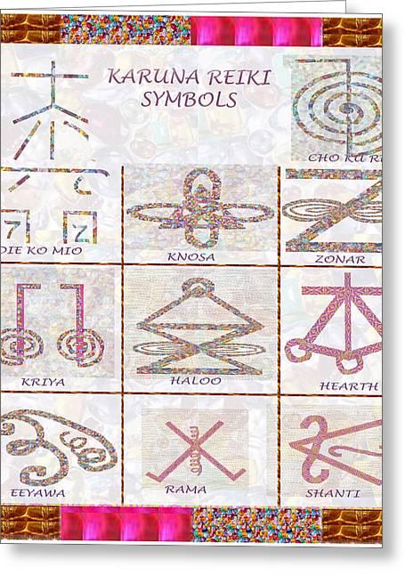 Karuna Reiki Healing Power Symbols Artwork With  Crystal Borders By Master Navinjoshi Greeting Card