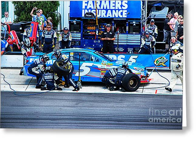 Kasey Kahne's Last Stop Before Victory Greeting Card by Tony Cooper