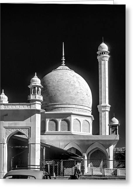 Kashmir Mosque Monochrome Greeting Card by Steve Harrington