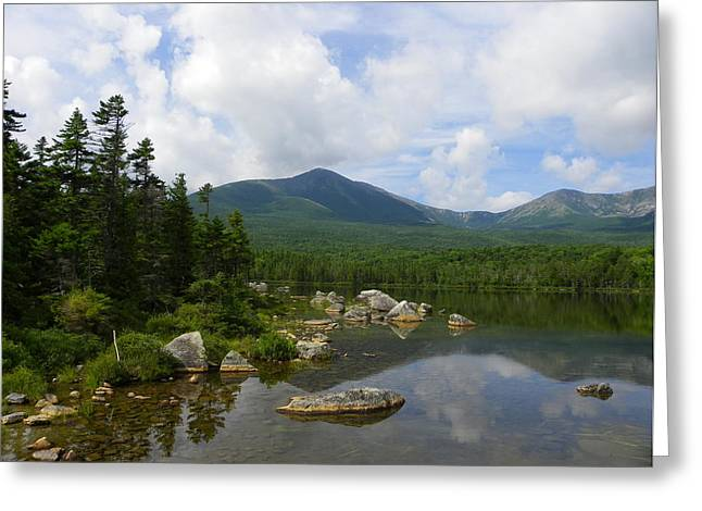Katahdin At Sandy Stream Pond 1 Greeting Card