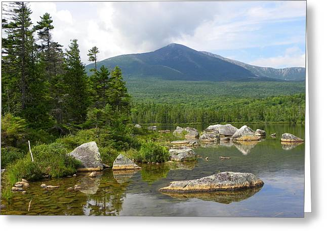 Katahdin Framed At Sandy Stream Pond Greeting Card