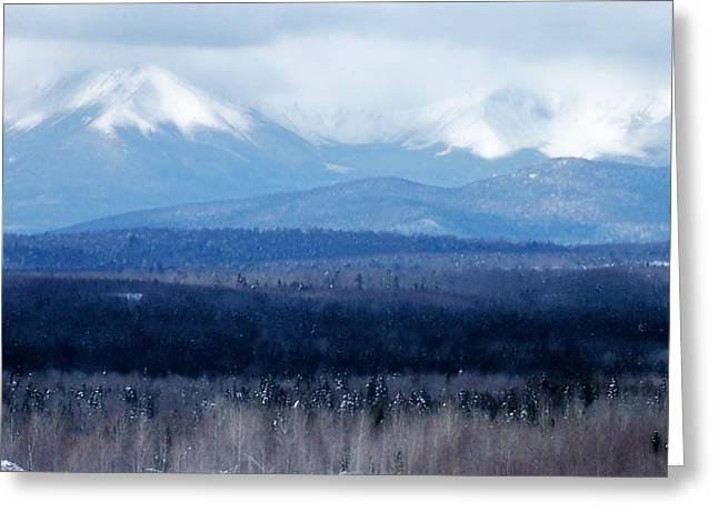 Greeting Card featuring the photograph Katahdin Snow by Gene Cyr