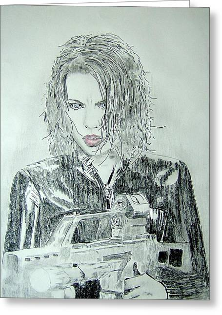 Kate Beckinsale Underworld Drawing Greeting Card