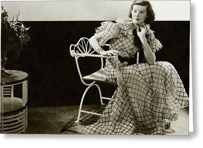Katharine Hepburn Sitting On A Chair Greeting Card by Lusha Nelson