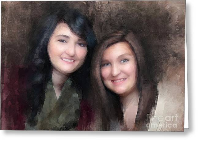 Katie And Sara Greeting Card
