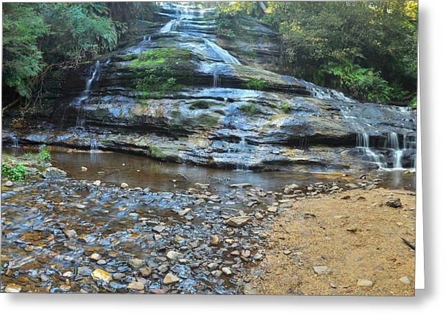 Katoomba Cascades Panorama Greeting Card by Terry Everson