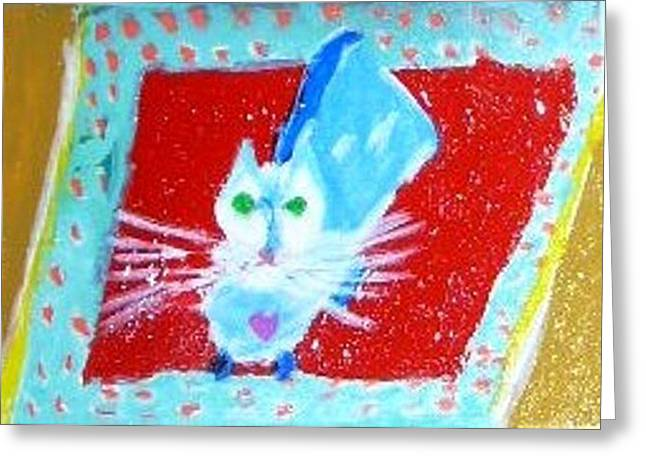 Greeting Card featuring the painting Katpet by Leslie Byrne
