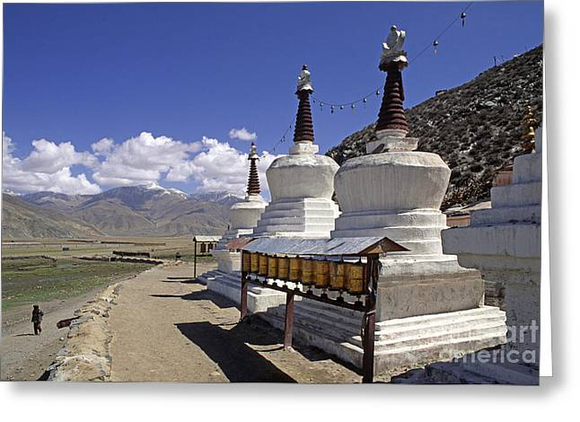 Katsel Stupas Tibet Greeting Card by Craig Lovell