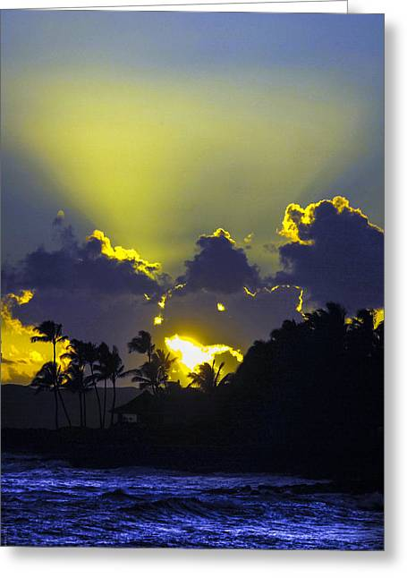 Kauai Sunset Greeting Card by Debbie Karnes