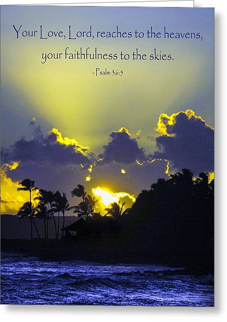 Kauai Sunset Psalm 36 5 Greeting Card by Debbie Karnes