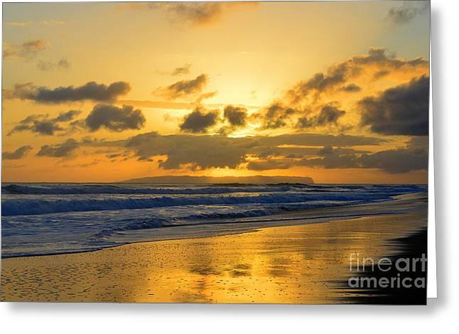 Kauai Sunset With Niihau On The Horizon Greeting Card by Catherine Sherman