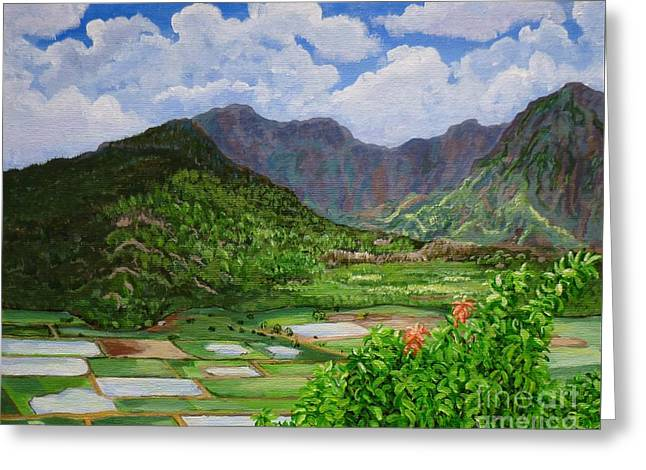 Greeting Card featuring the painting Kauai Taro Fields by Chad Berglund