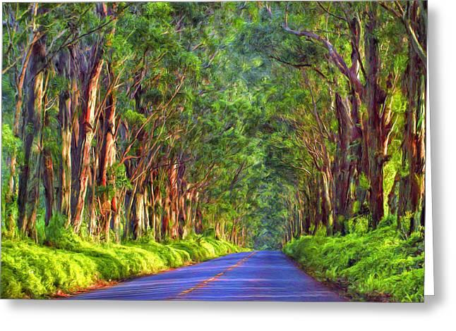 Kauai Tree Tunnel Greeting Card by Dominic Piperata