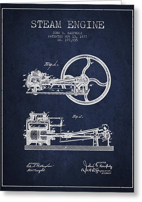 Kaufholz Steam Engine Patent Drawing From 1877- Navy Blue Greeting Card