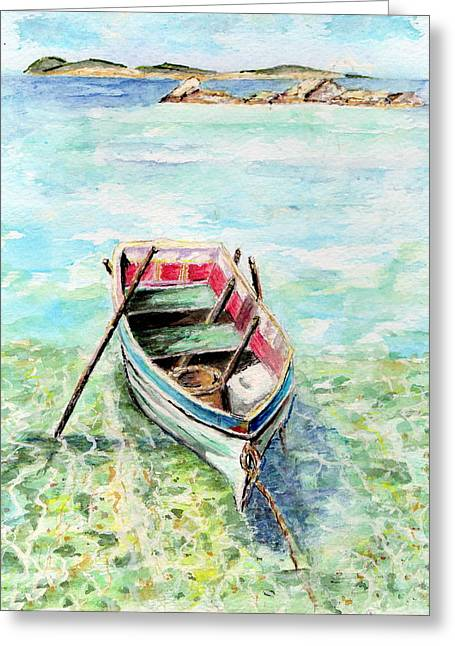 Kavala Row Boat Greeting Card