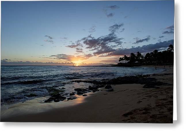 Kawaii Sunset Greeting Card by Max Ratchkauskas