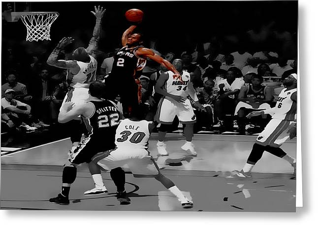 Kawhi Leonard Monster Slam Greeting Card by Brian Reaves