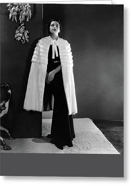 Kay Francis Wearing An Ermine Cape Greeting Card by Horst P. Horst