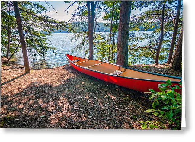 Kayak By The Water Greeting Card by Alex Grichenko
