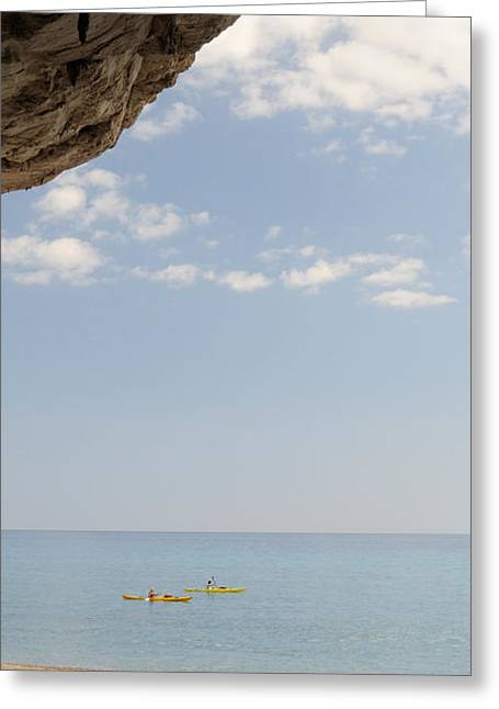 Kayak In The Sea Viewed From Cave, Cala Greeting Card by Panoramic Images