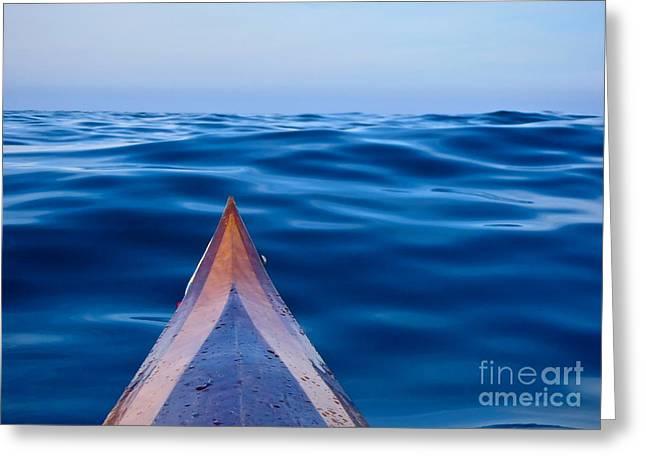 Kayak On Velvet Blue Greeting Card
