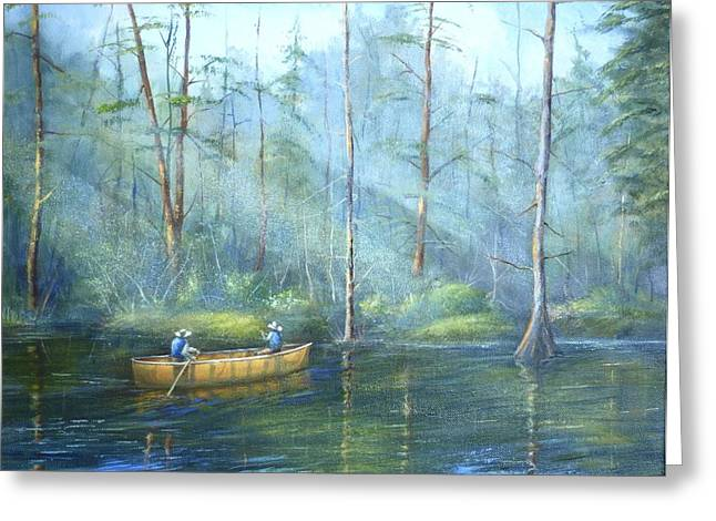Kayak Rays Greeting Card by Rich Kuhn