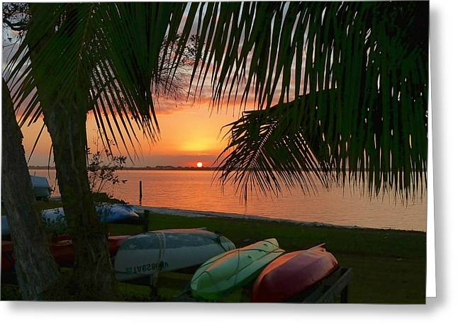 Greeting Card featuring the photograph Kayak Sunset by Elaine Franklin