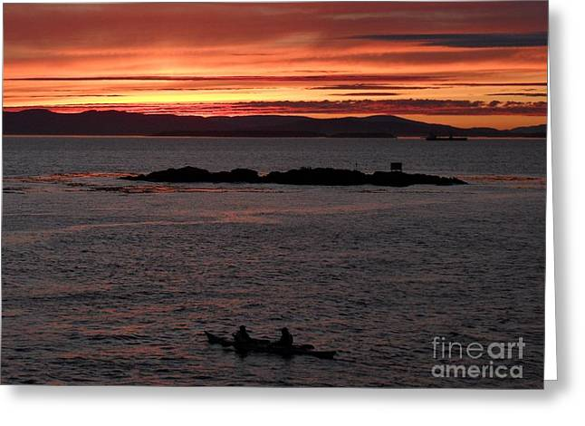 Kayak Sunset Greeting Card by Gayle Swigart