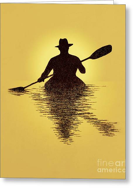 Kayaker Sunset Greeting Card
