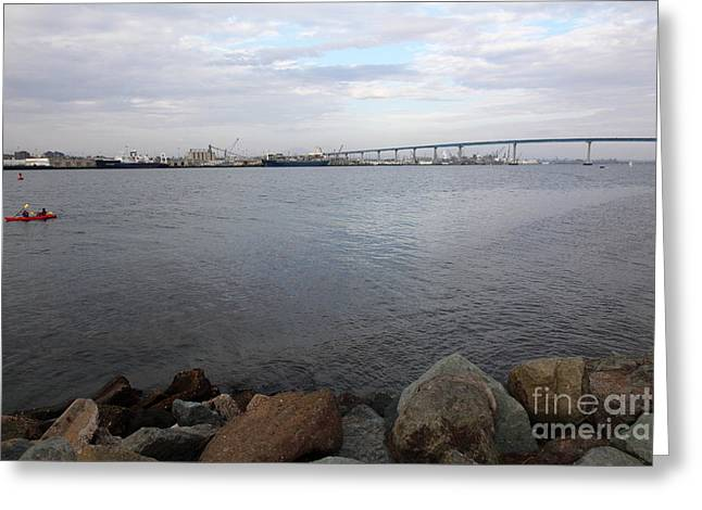 Kayaking Along The San Diego Harbor Overlooking The San Diego Coronado Bridge 5d24371 Greeting Card