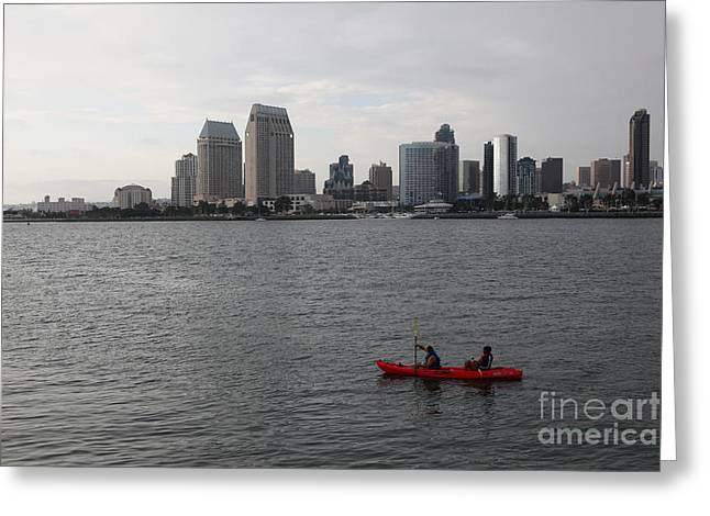 Kayaking Along The San Diego Harbor Overlooking The San Diego Skyline 5d24376 Greeting Card by Wingsdomain Art and Photography