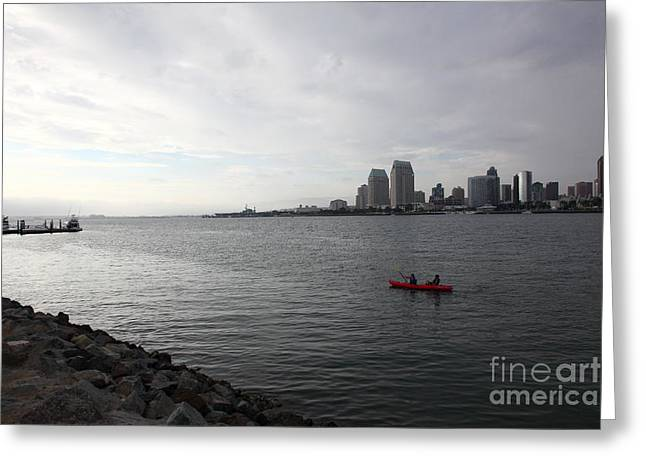 Kayaking Along The San Diego Harbor Overlooking The San Diego Skyline 5d24377 Greeting Card by Wingsdomain Art and Photography