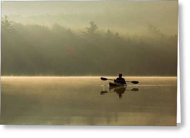 Kayaking At Sunup Greeting Card