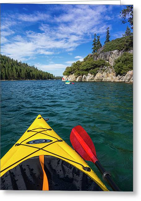 Kayaking In Emerald Bay At Fannette Greeting Card