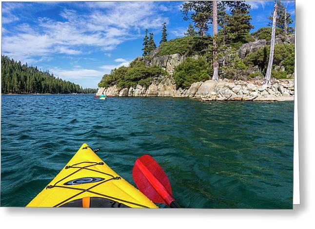 Kayaking In Emerald Bay, Emerald Bay Greeting Card