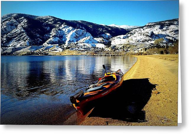 Kayaking In January Greeting Card by Guy Hoffman