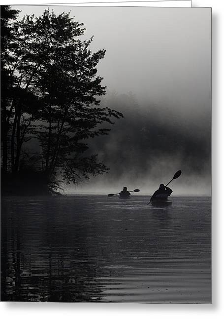 Kayaking In The Fog Greeting Card