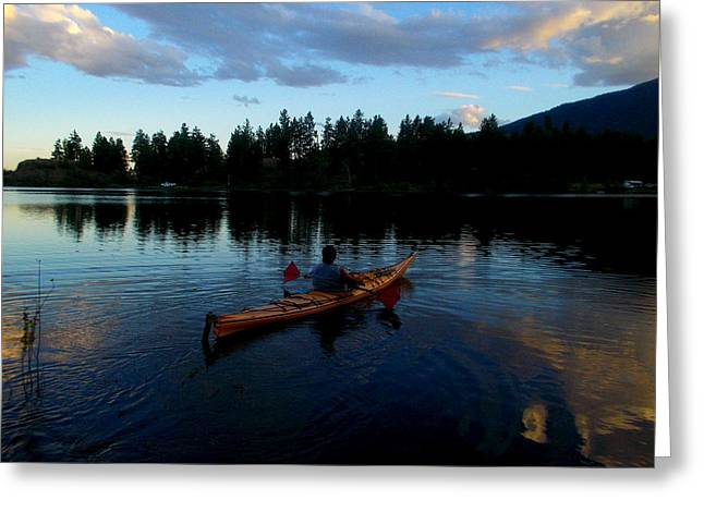 Kayaking Sunset Greeting Card