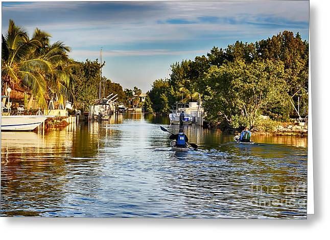 Kayaking The Canals Greeting Card
