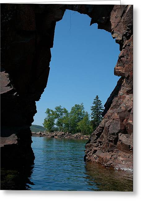 Kayaking Through The Arch Greeting Card by Sandra Updyke
