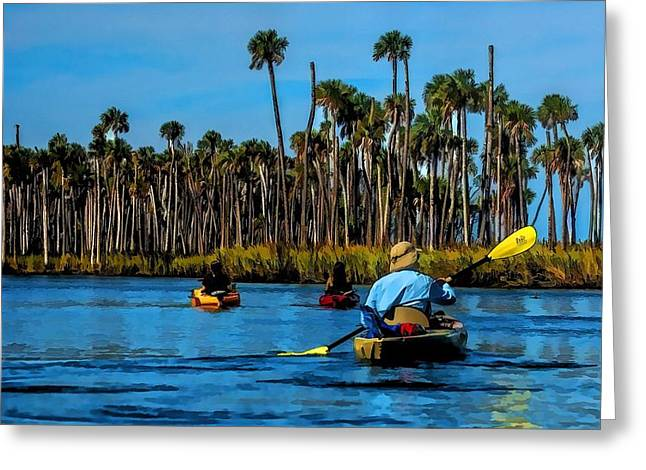 Kayaking Weeki Wachee Greeting Card by Pamela Blizzard