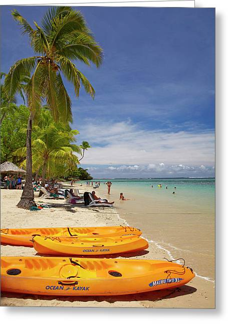 Kayaks And Beach, Shangri-la Fijian Greeting Card by David Wall