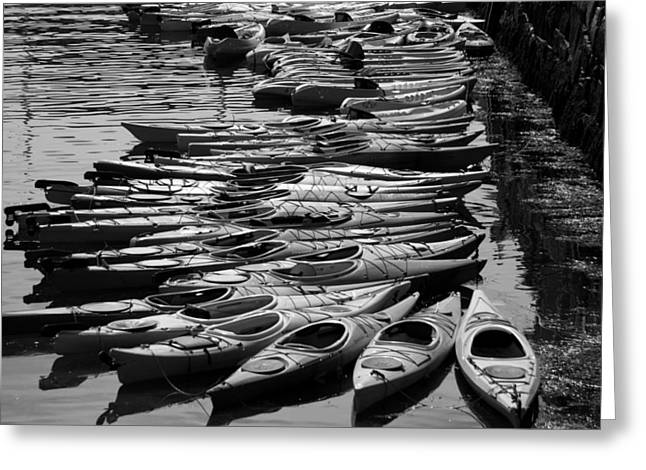 Kayaks At Rockport Black And White Greeting Card