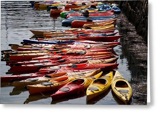 Kayaks At Rockport Greeting Card