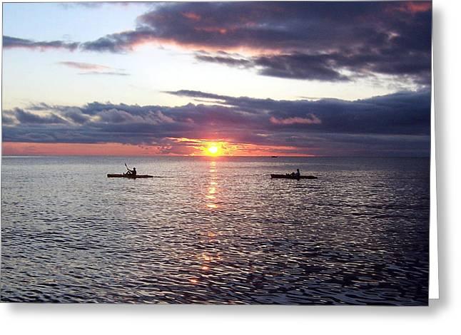 Kayaks At Sunset Greeting Card