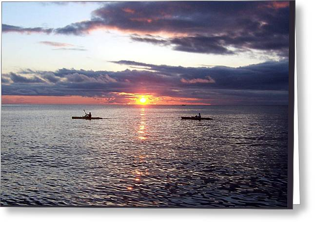 Kayaks At Sunset Greeting Card by David T Wilkinson